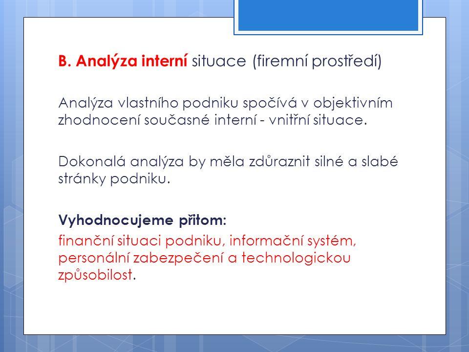 B. Analýza interní situace (firemní prostředí) Analýza vlastního podniku spočívá v objektivním zhodnocení současné interní - vnitřní situace. Dokonalá