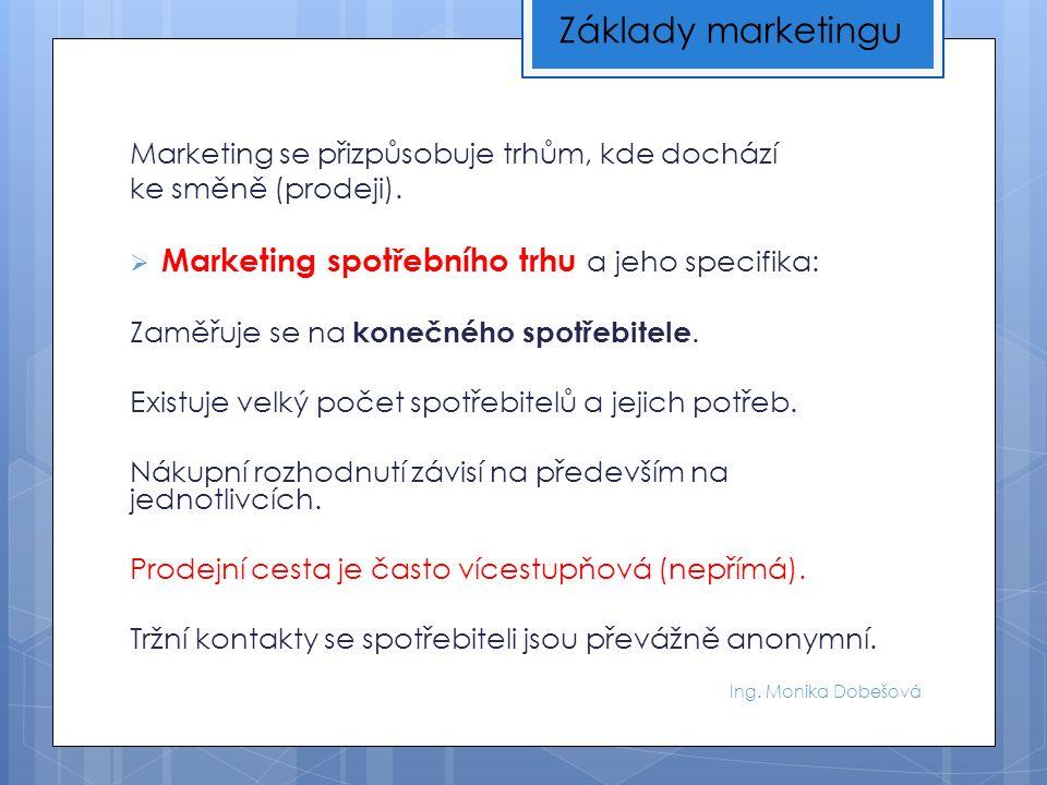 Ing. Monika Dobešová Marketing se přizpůsobuje trhům, kde dochází ke směně (prodeji).  Marketing spotřebního trhu a jeho specifika: Zaměřuje se na ko