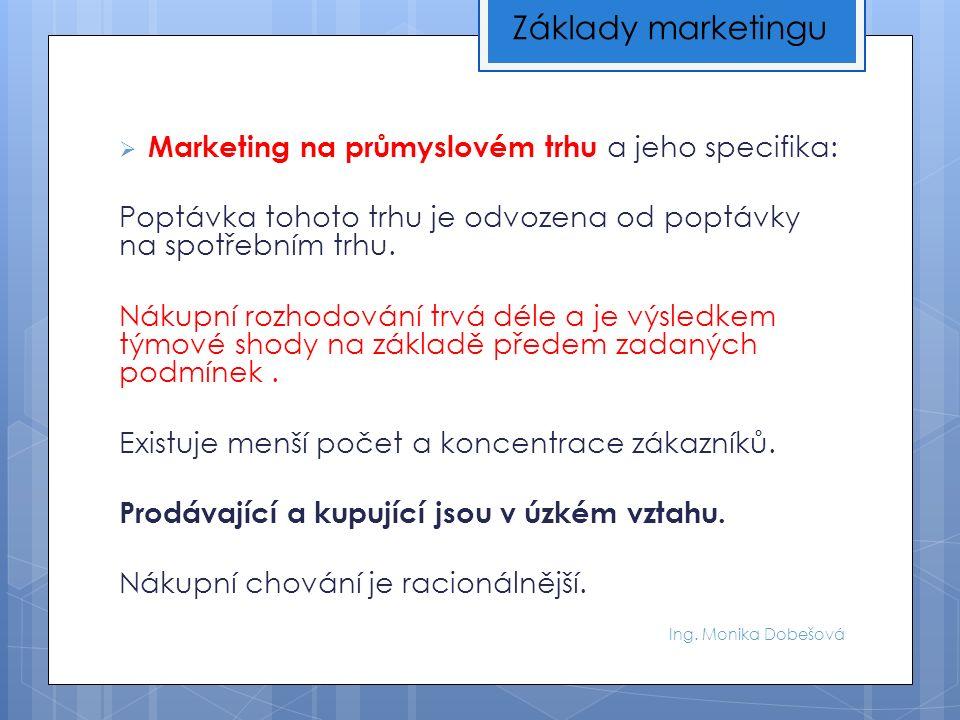 Ing. Monika Dobešová  Marketing na průmyslovém trhu a jeho specifika: Poptávka tohoto trhu je odvozena od poptávky na spotřebním trhu. Nákupní rozhod