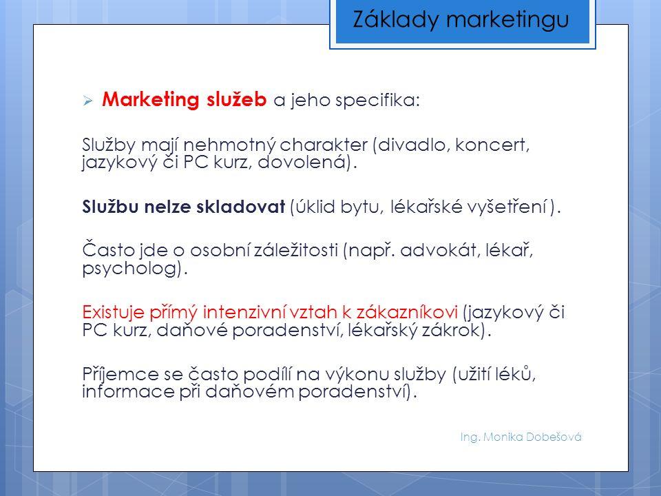 Ing. Monika Dobešová  Marketing služeb a jeho specifika: Služby mají nehmotný charakter (divadlo, koncert, jazykový či PC kurz, dovolená). Službu nel