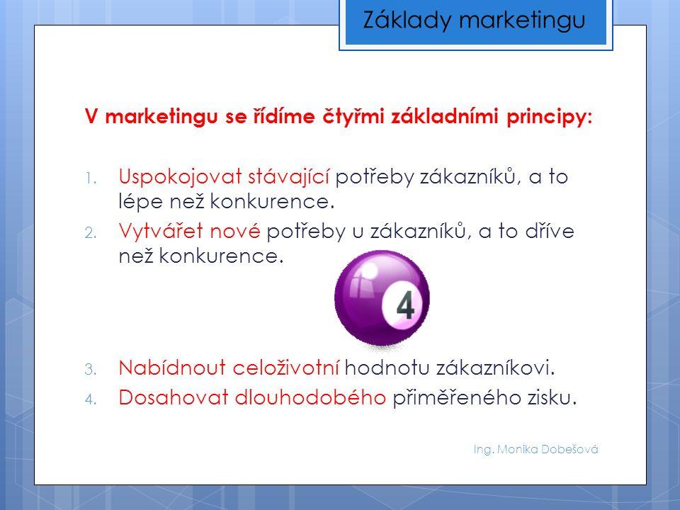 Ing. Monika Dobešová V marketingu se řídíme čtyřmi základními principy: 1. Uspokojovat stávající potřeby zákazníků, a to lépe než konkurence. 2. Vytvá