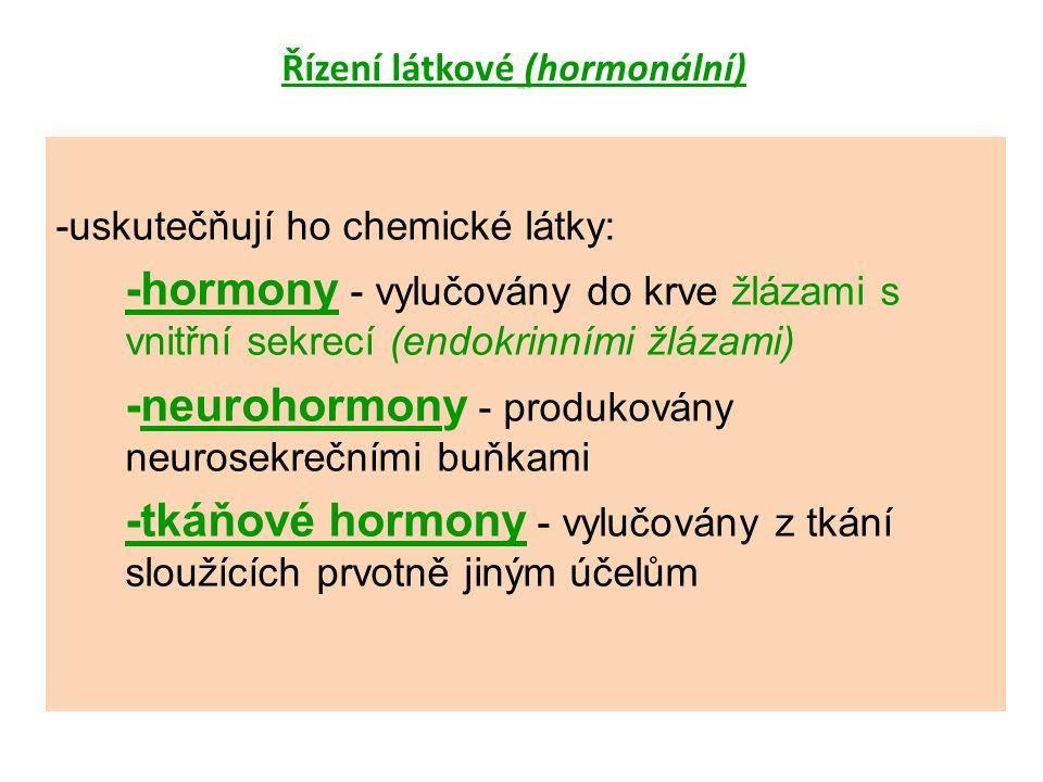 Řízení látkové (hormonální) -uskutečňují ho chemické látky: -hormony - vylučovány do krve žlázami s vnitřní sekrecí (endokrinními žlázami) -neurohormony - produkovány neurosekrečními buňkami -tkáňové hormony - vylučovány z tkání sloužících prvotně jiným účelům