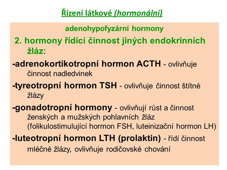 Řízení látkové (hormonální) neurohypofyzární hormony -antidiuretický hormon ADH - ovlivňuje propustnost ledvinových kanálků pro vodu a její zpětné vstřebávání do krve -oxytocin – vyvolává stahy hladkého svalstva dělohy při porodu a stahy hl.
