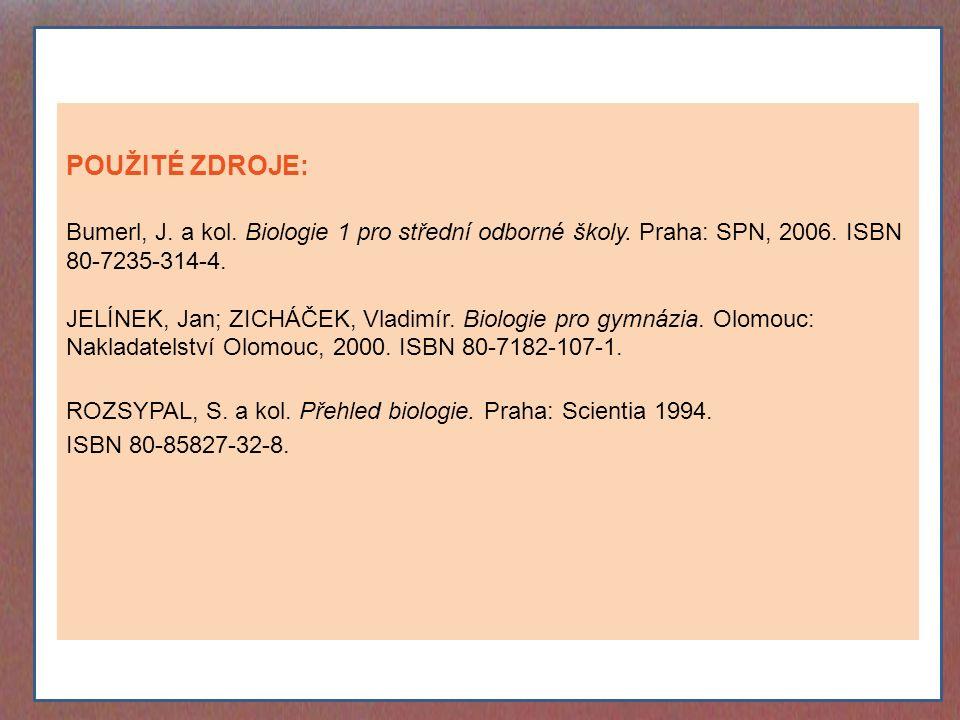 POUŽITÉ ZDROJE: Bumerl, J. a kol. Biologie 1 pro střední odborné školy. Praha: SPN, 2006. ISBN 80-7235-314-4. JELÍNEK, Jan; ZICHÁČEK, Vladimír. Biolog