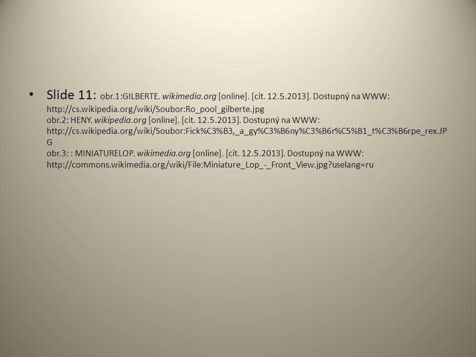 Slide 11: obr.1:GILBERTE. wikimedia.org [online]. [cit. 12.5.2013]. Dostupný na WWW: http://cs.wikipedia.org/wiki/Soubor:Ro_pool_gilberte.jpg obr.2: H