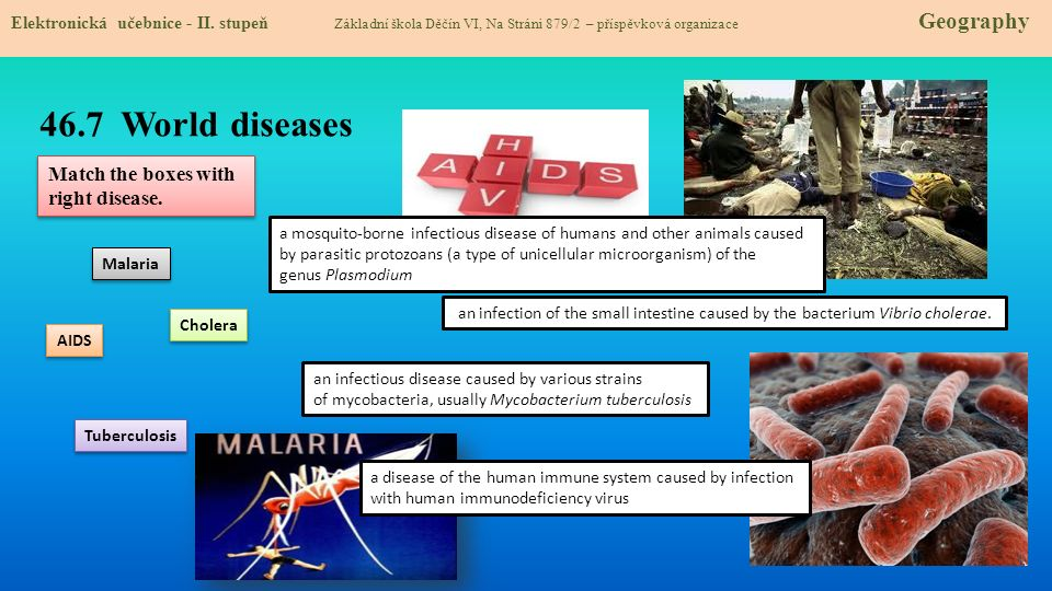 46.8 Test znalostí Správné odpovědi: 1.Mezi infekční nemoci nepatří a/ AIDS b/ SARS c/ Alzheimerova choroba d/ Malárie 3.AIDS se vyskytuje a/ V zemích, které mají špatné hygienické podmínky b/ Na celém světe, kromě vyspělých zemí c/ I v zemích s vysokou úrovní zdravotnictví d/ pouze v Africe, kde umírají ročně miliony lidí na tuto nemoc 2.Cholera je nemoc způsobena a/ bakterií vibrio cholerae b/ špatnou tvorbou červených krvinek c/ zvýšenou produkcí lymfocit d/ ztrátou imunitního systému člověka 4.Civilizační nemocí je: a/ Tuberkulóza b/ Srdeční (vaskulární) choroby c/ žloutenka typu A d/ ptačí chřipka 1.c 2.a 3.c 4.b Test na známku Elektronická učebnice - II.
