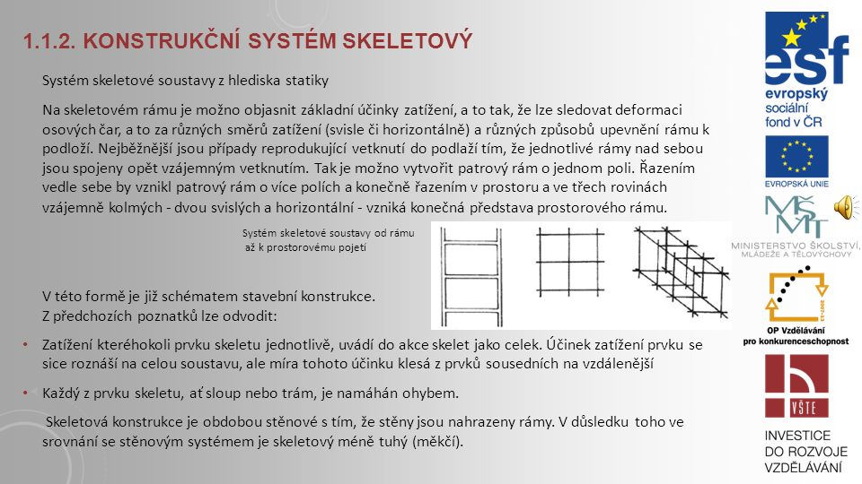 1.1.2. KONSTRUKČNÍ SYSTÉM SKELETOVÝ Jak naznačuje pojem skelet (kostra), jde o další stupeň koncentrace konstrukčního materiálu na nejnutnější nosnou