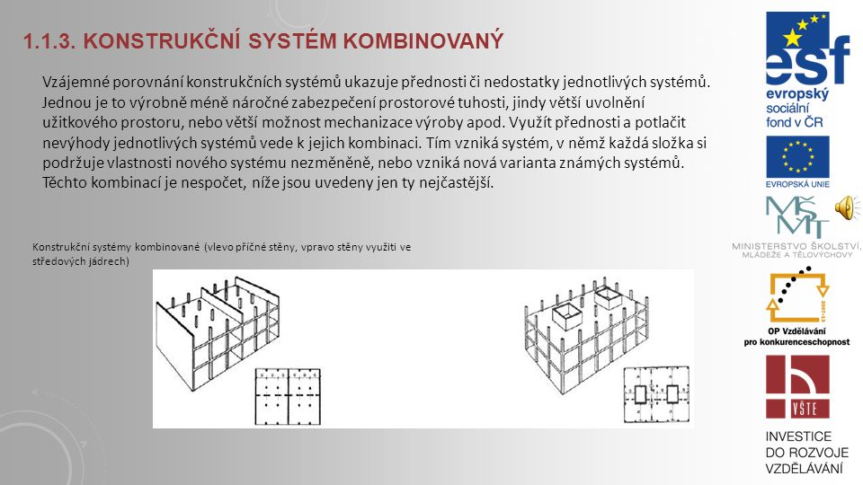 1.1.2. KONSTRUKČNÍ SYSTÉM SKELETOVÝ Konstrukční systém skeletový - hřibový (šipky vyznačují směr pnutí stropů) Konstrukční systém skeletový - bezprůvl