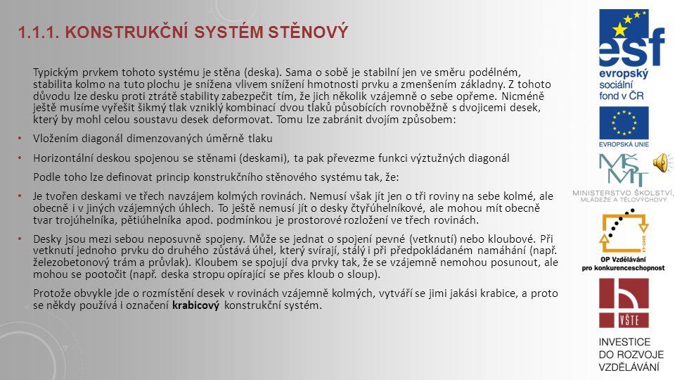 1.1.1.KONSTRUKČNÍ SYSTÉM STĚNOVÝ Typickým prvkem tohoto systému je stěna (deska).