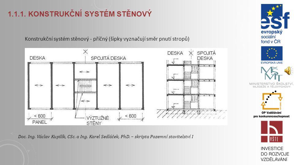 1.1.1. KONSTRUKČNÍ SYSTÉM STĚNOVÝ Konstrukční systém stěnový - podélný (šipky vyznačují směr pnutí stropů) Doc. Ing. Václav Kupilík, CSc. a Ing. Karel