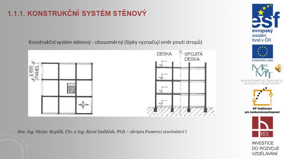 1.1.1. KONSTRUKČNÍ SYSTÉM STĚNOVÝ Konstrukční systém stěnový - příčný (šipky vyznačují směr pnutí stropů) Doc. Ing. Václav Kupilík, CSc. a Ing. Karel
