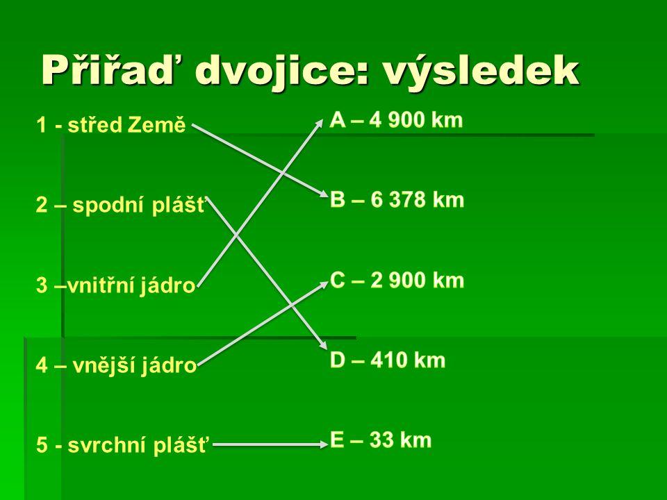 Přiřaď dvojice: výsledek 1 - střed Země 2 – spodní plášť 3 –vnitřní jádro 4 – vnější jádro 5 - svrchní plášť