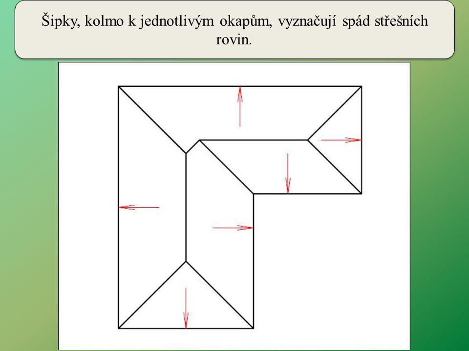 Při řešení střechy můžeme použít číslování stran okapového obrazce a číslovat pomocí nich i jednotlivé průsečnice.