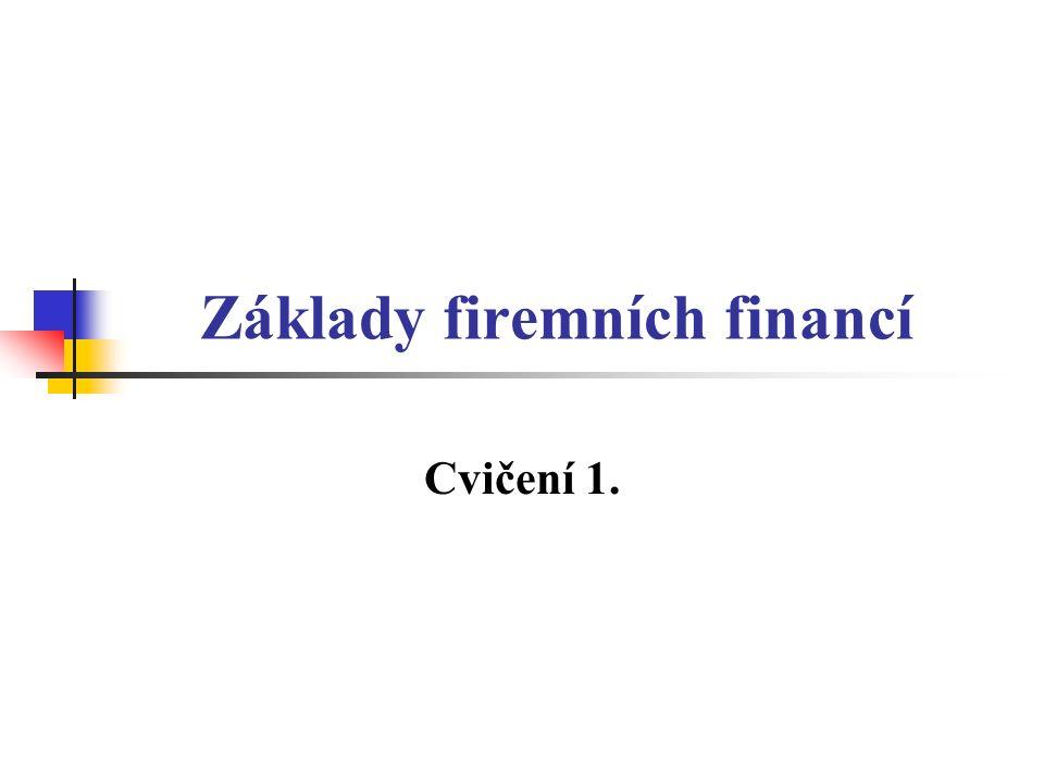 Základy firemních financí Cvičení 1.