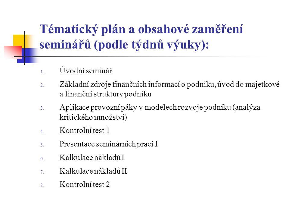 Tématický plán a obsahové zaměření seminářů (podle týdnů výuky): 1.