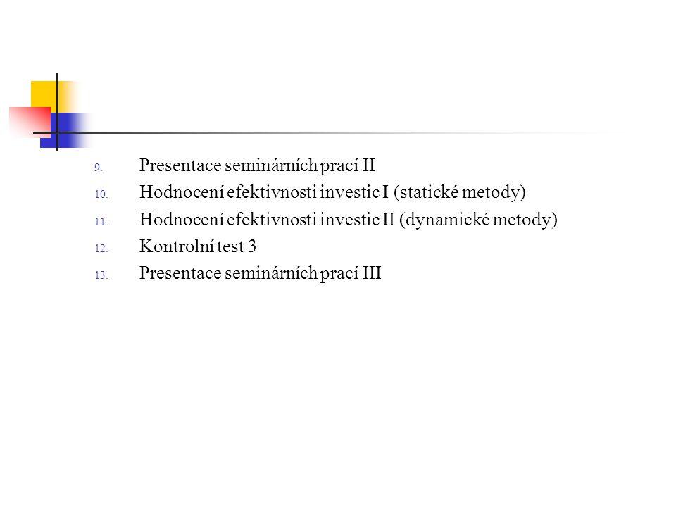 9. Presentace seminárních prací II 10. Hodnocení efektivnosti investic I (statické metody) 11.