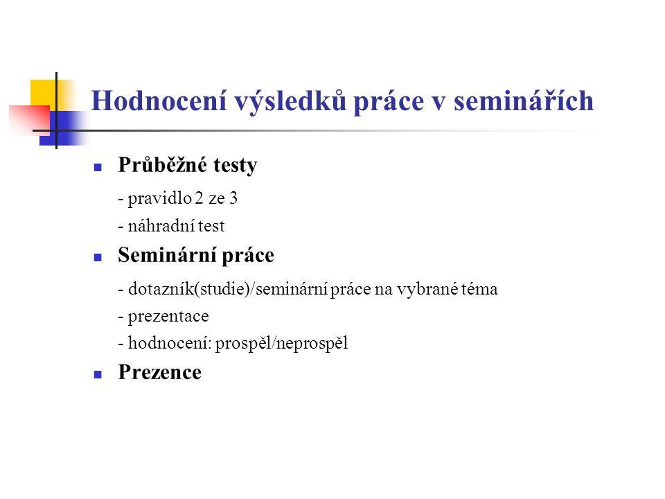 Hodnocení výsledků práce v seminářích Průběžné testy - pravidlo 2 ze 3 - náhradní test Seminární práce - dotazník(studie)/seminární práce na vybrané téma - prezentace - hodnocení: prospěl/neprospěl Prezence
