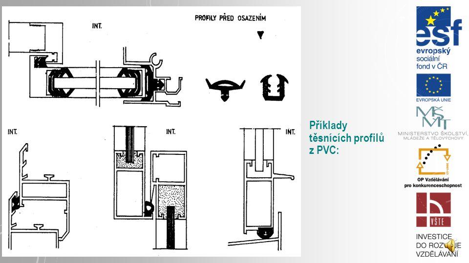Příklady těsnících profilů z PVC: