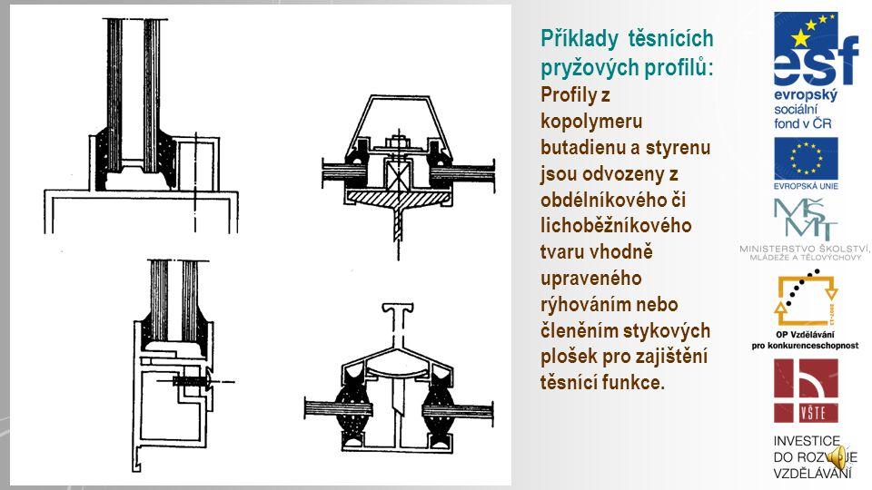 Příklady těsnících pryžových profilů: Profily z kopolymeru butadienu a styrenu jsou odvozeny z obdélníkového či lichoběžníkového tvaru vhodně upraveného rýhováním nebo členěním stykových plošek pro zajištění těsnící funkce.