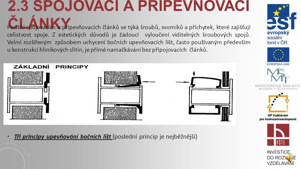 2.3 SPOJOVACÍ A PŘIPEVŇOVACÍ ČLÁNKY Použití spojovacích a připevňovacích článků se týká šroubů, svorníků a příchytek, které zajišťují celistvost spoje.