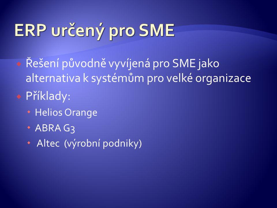  Řešení původně vyvíjená pro SME jako alternativa k systémům pro velké organizace  Příklady:  Helios Orange  ABRA G3  Altec (výrobní podniky)