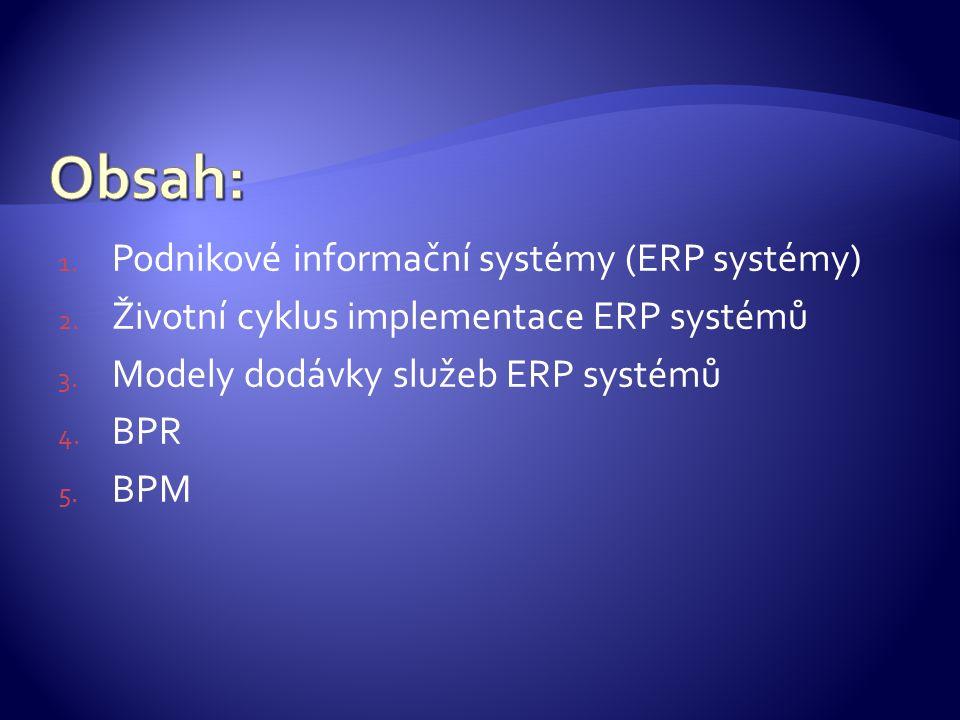 1. Podnikové informační systémy (ERP systémy) 2. Životní cyklus implementace ERP systémů 3.