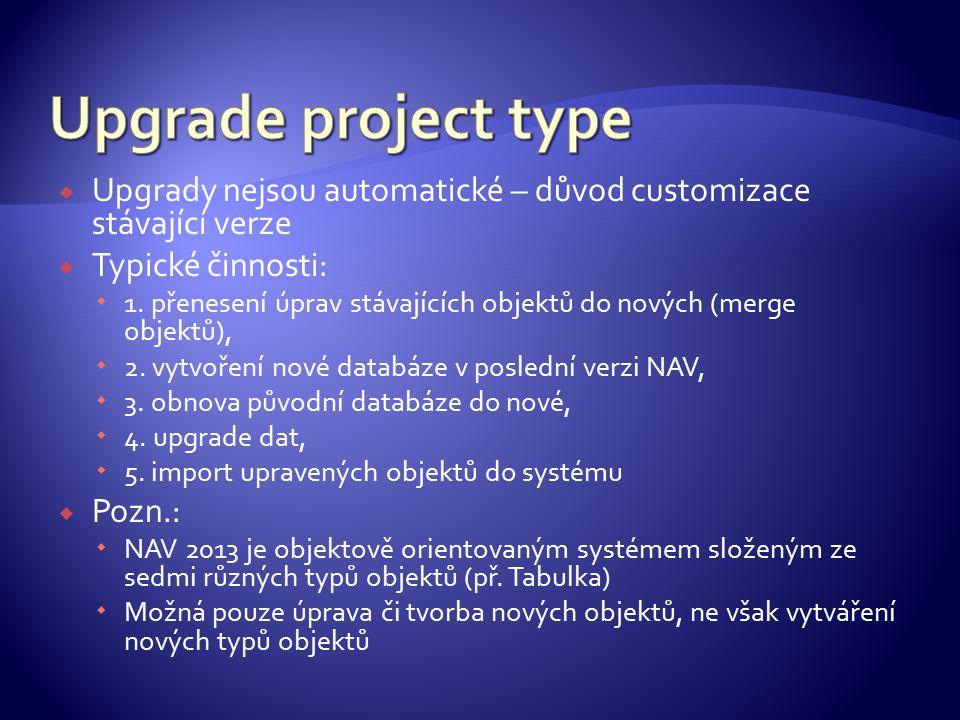  Upgrady nejsou automatické – důvod customizace stávající verze  Typické činnosti:  1.