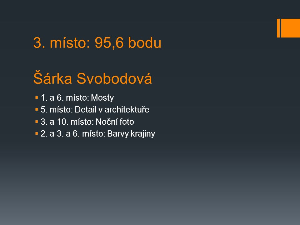 3. místo: 95,6 bodu Šárka Svobodová  1. a 6. místo: Mosty  5.