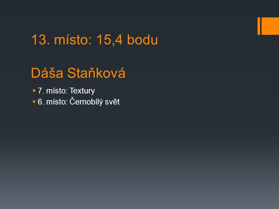 13. místo: 15,4 bodu Dáša Staňková  7. místo: Textury  6. místo: Černobílý svět