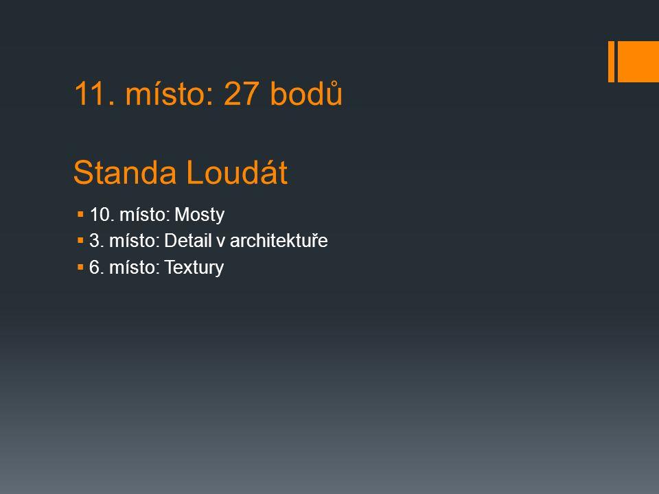 11. místo: 27 bodů Standa Loudát  10. místo: Mosty  3.