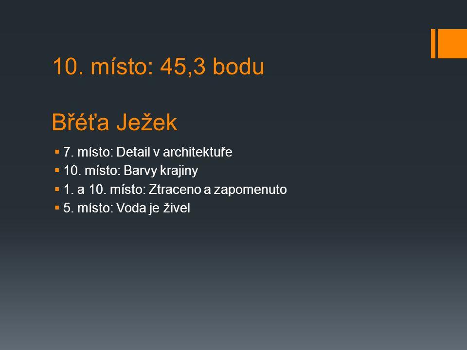 10. místo: 45,3 bodu Břéťa Ježek  7. místo: Detail v architektuře  10.