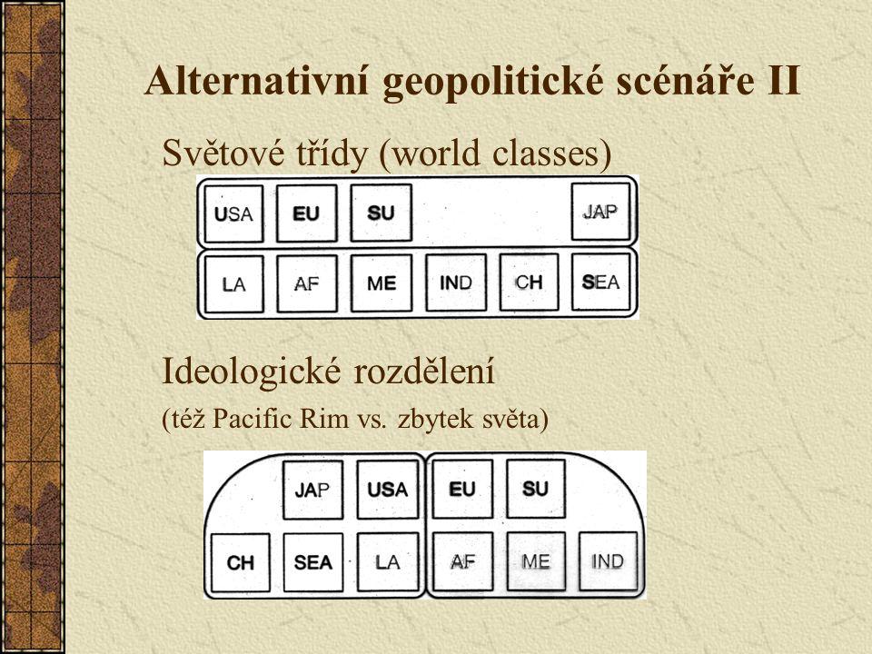 Alternativní geopolitické scénáře II Světové třídy (world classes) Ideologické rozdělení (též Pacific Rim vs. zbytek světa)
