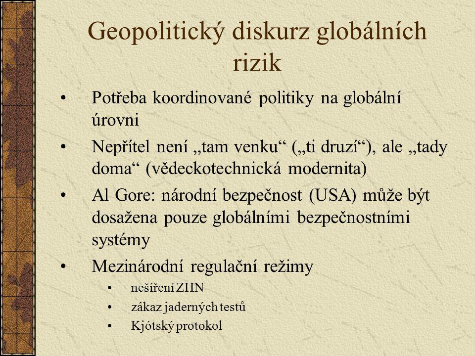 """Geopolitický diskurz globálních rizik Potřeba koordinované politiky na globální úrovni Nepřítel není """"tam venku"""" (""""ti druzí""""), ale """"tady doma"""" (vědeck"""