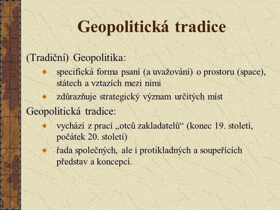"""Geopolitické diskurzy/kódy 1.Vyjadřují zájmy mocných skupin """"ocelová trojice obvykle exkluzivistická koncepce """"národní výjimečnosti a velikosti marginalizace menšin 2.Monopolizují definování hrozeb diskurz ohrožení/nebezpečí definují význam """"národní bezpečnosti a zdrojů jejího ohrožení 3.Vytvářejí zjednodušenou prostorovou vizi světových událostí třídí (komplexně podmíněné) události světové politiky do abstraktních kategorií a geografických zón interpretace událostí zjednodušující optikou často diskurz konspirace"""