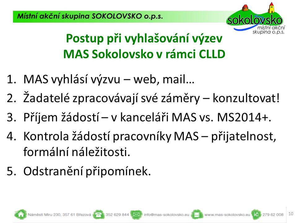 Postup při vyhlašování výzev MAS Sokolovsko v rámci CLLD 1.MAS vyhlásí výzvu – web, mail… 2.Žadatelé zpracovávají své záměry – konzultovat! 3.Příjem ž