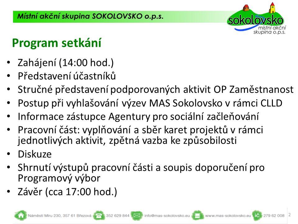 Integrovaný plán rozvoje území Karlovy Vary 13 Lze žádat: 1.1.1 Zvýšit zaměstnanost podpořených osob, zejména starších, nízkokvalifikovaných a znevýhodněných 1.1.2 Snížit rozdíl v postavení žen a mužů na trhu práce 2.1.1 Zvýšit uplatnitelnost osob ohrožených sociálním vyloučením nebo sociálně vyloučených ve společnosti a na trhu práce