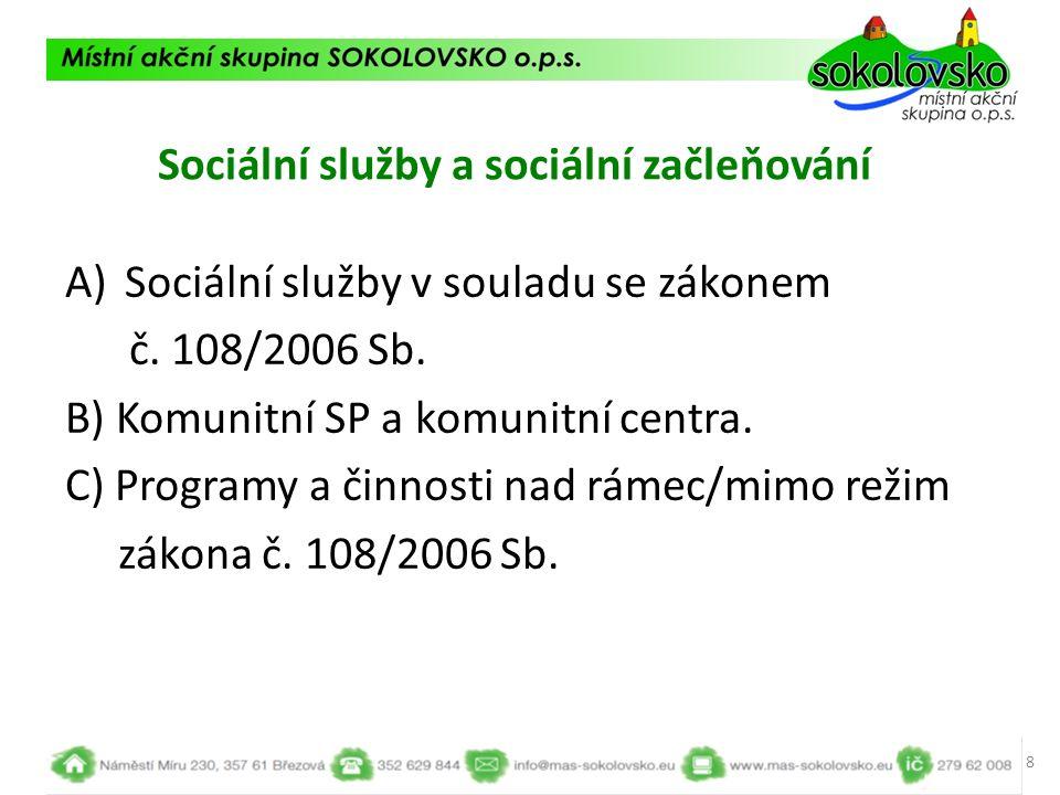 Sociální služby a sociální začleňování A)Sociální služby v souladu se zákonem č. 108/2006 Sb. B) Komunitní SP a komunitní centra. C) Programy a činnos