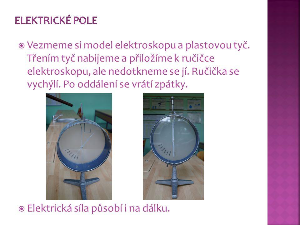  Vezmeme si model elektroskopu a plastovou tyč. Třením tyč nabijeme a přiložíme k ručičce elektroskopu, ale nedotkneme se jí. Ručička se vychýlí. Po