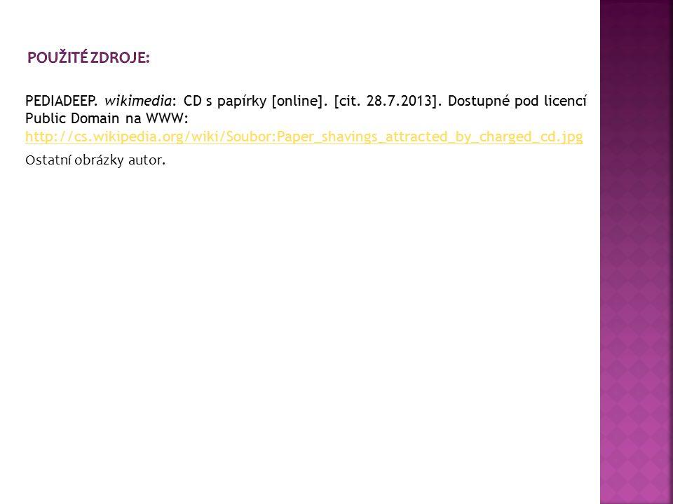 PEDIADEEP. wikimedia: CD s papírky [online]. [cit. 28.7.2013]. Dostupné pod licencí Public Domain na WWW: http://cs.wikipedia.org/wiki/Soubor:Paper_sh