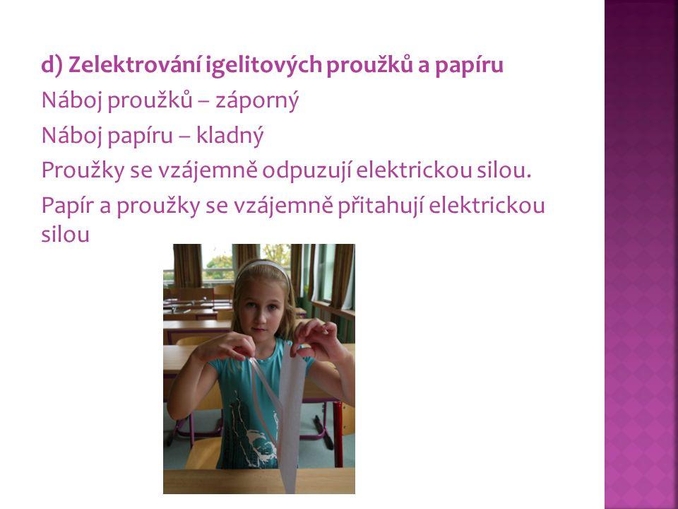 d) Zelektrování igelitových proužků a papíru Náboj proužků – záporný Náboj papíru – kladný Proužky se vzájemně odpuzují elektrickou silou. Papír a pro
