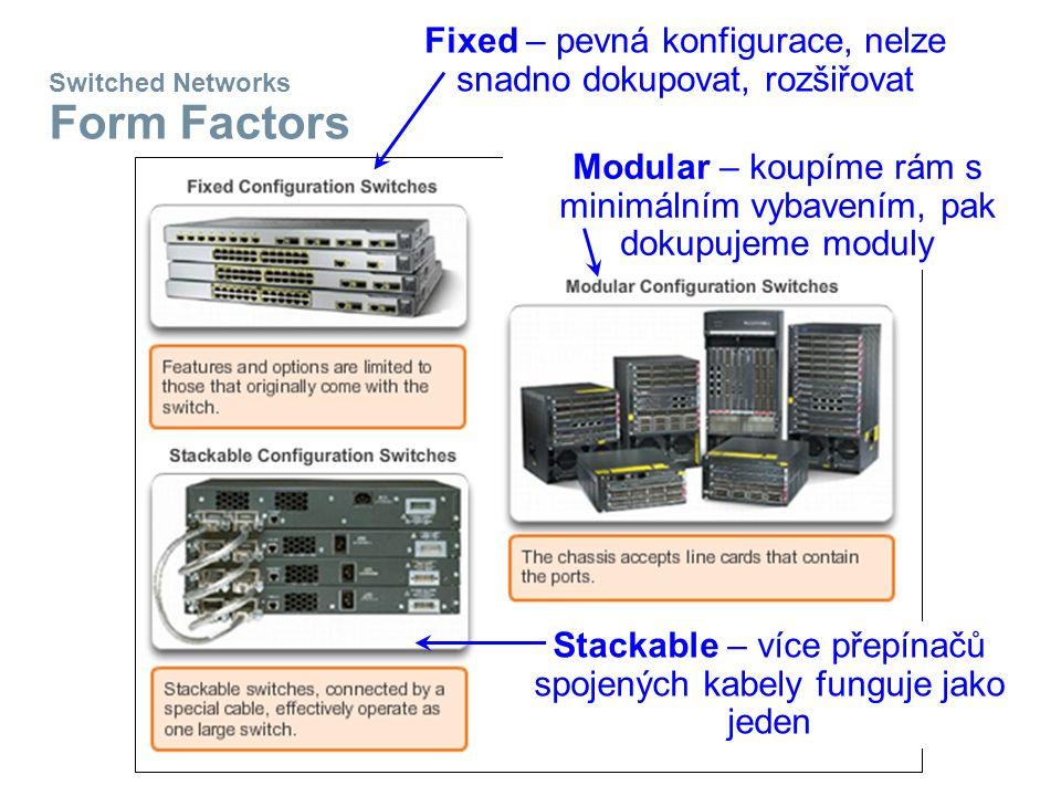 Switched Networks Form Factors Fixed – pevná konfigurace, nelze snadno dokupovat, rozšiřovat Modular – koupíme rám s minimálním vybavením, pak dokupujeme moduly Stackable – více přepínačů spojených kabely funguje jako jeden