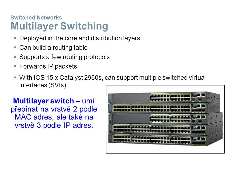 Switched Networks Multilayer Switching  Deployed in the core and distribution layers  Can build a routing table  Supports a few routing protocols  Forwards IP packets  With IOS 15.x Catalyst 2960s, can support multiple switched virtual interfaces (SVIs) Multilayer switch – umí přepínat na vrstvě 2 podle MAC adres, ale také na vrstvě 3 podle IP adres.