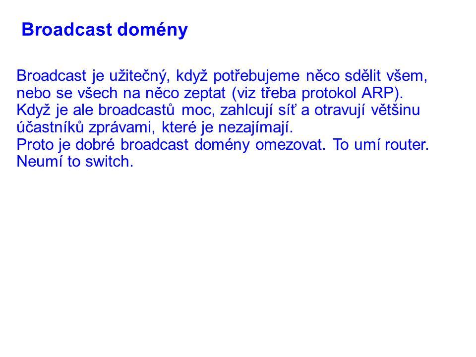 Broadcast domény Broadcast je užitečný, když potřebujeme něco sdělit všem, nebo se všech na něco zeptat (viz třeba protokol ARP). Když je ale broadcas