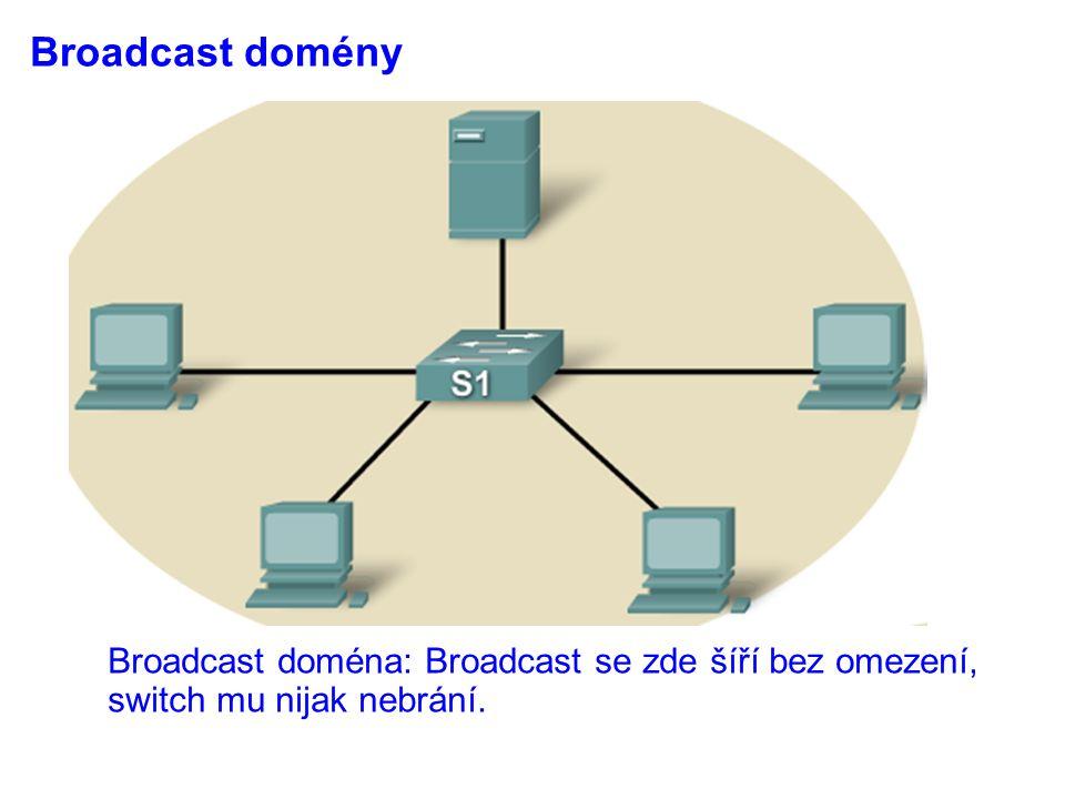 Broadcast domény Broadcast doména: Broadcast se zde šíří bez omezení, switch mu nijak nebrání.