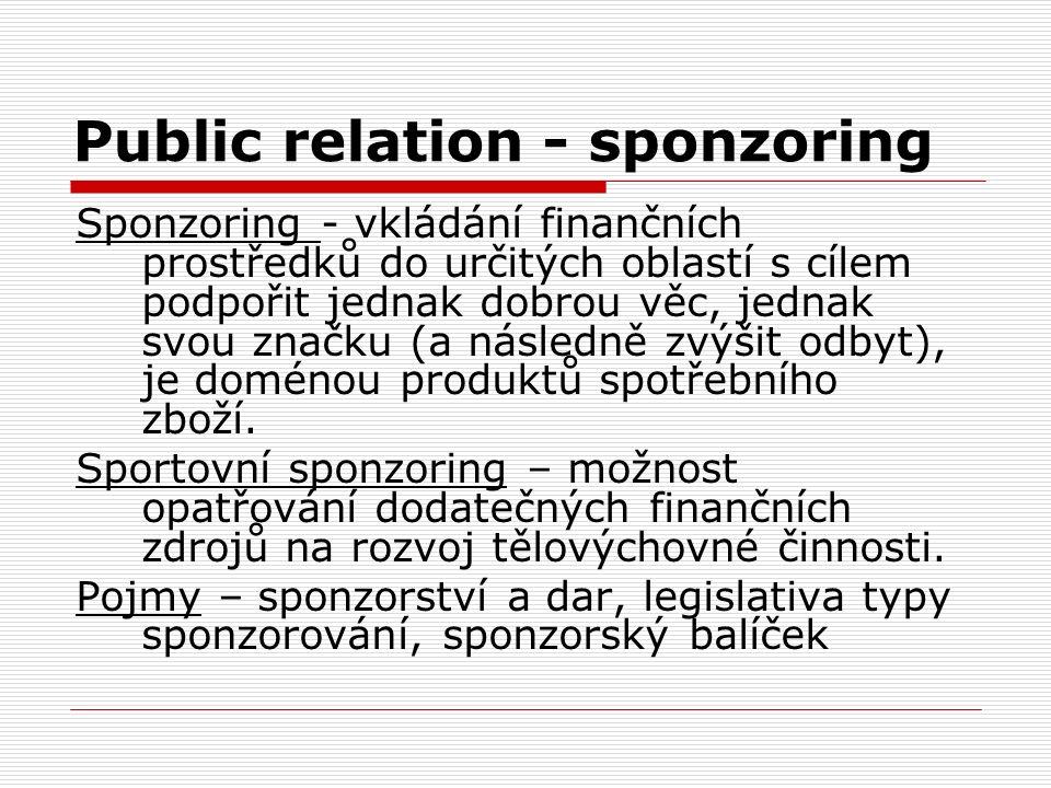 Public relation - sponzoring Sponzoring - vkládání finančních prostředků do určitých oblastí s cílem podpořit jednak dobrou věc, jednak svou značku (a