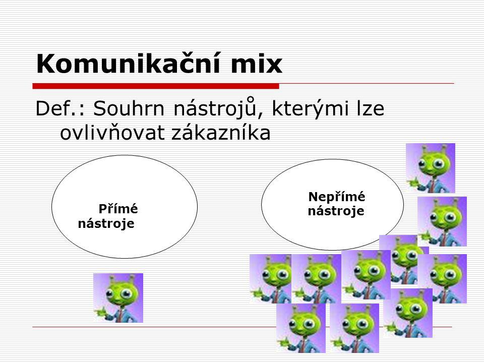 Komunikační mix Def.: Souhrn nástrojů, kterými lze ovlivňovat zákazníka Přímé nástroje Nepřímé nástroje