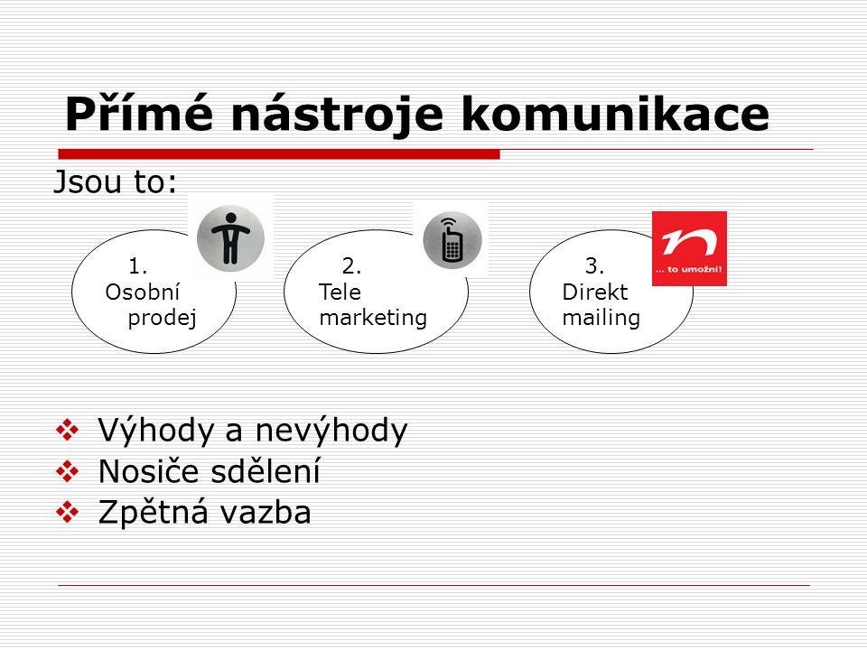 Přímé nástroje komunikace 1. Osobní prodej Jsou to:  Výhody a nevýhody  Nosiče sdělení  Zpětná vazba 2. Tele marketing 3. Direkt mailing