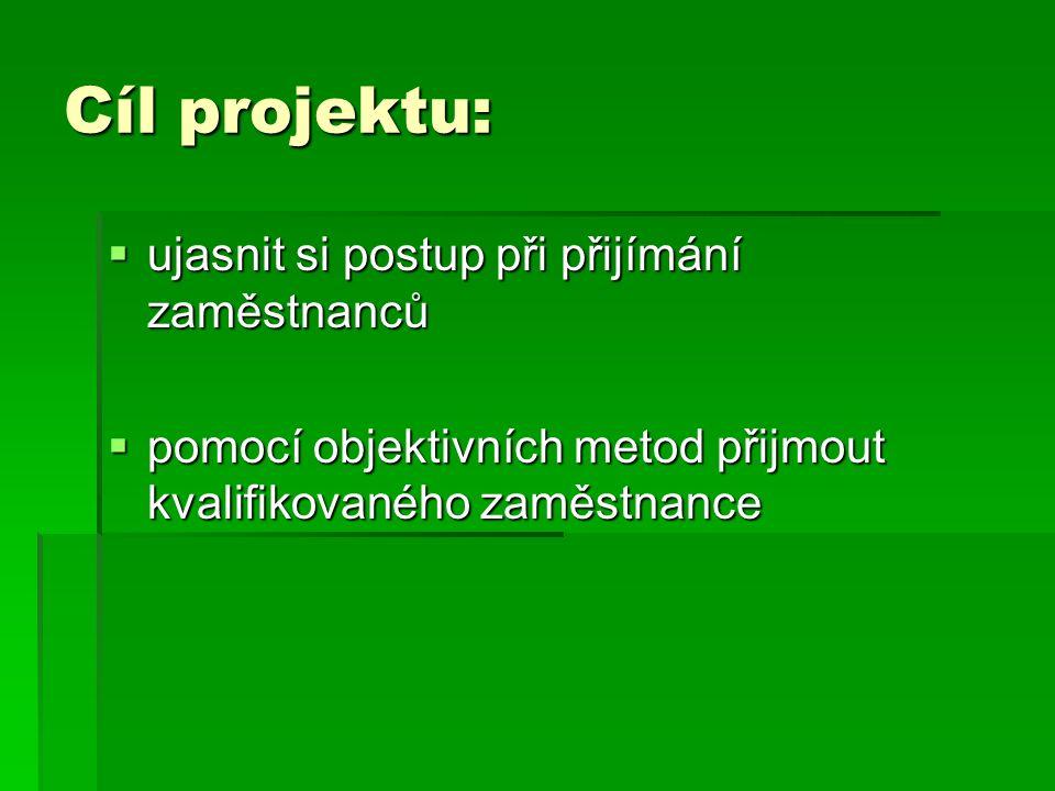 Cíl projektu:  ujasnit si postup při přijímání zaměstnanců  pomocí objektivních metod přijmout kvalifikovaného zaměstnance