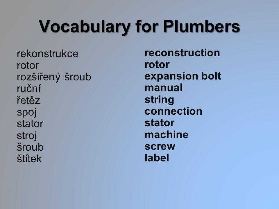 Vocabulary for Plumbers rekonstrukce rotor rozšířený šroub ruční řetěz spoj stator stroj šroub štítek reconstruction rotor expansion bolt manual strin