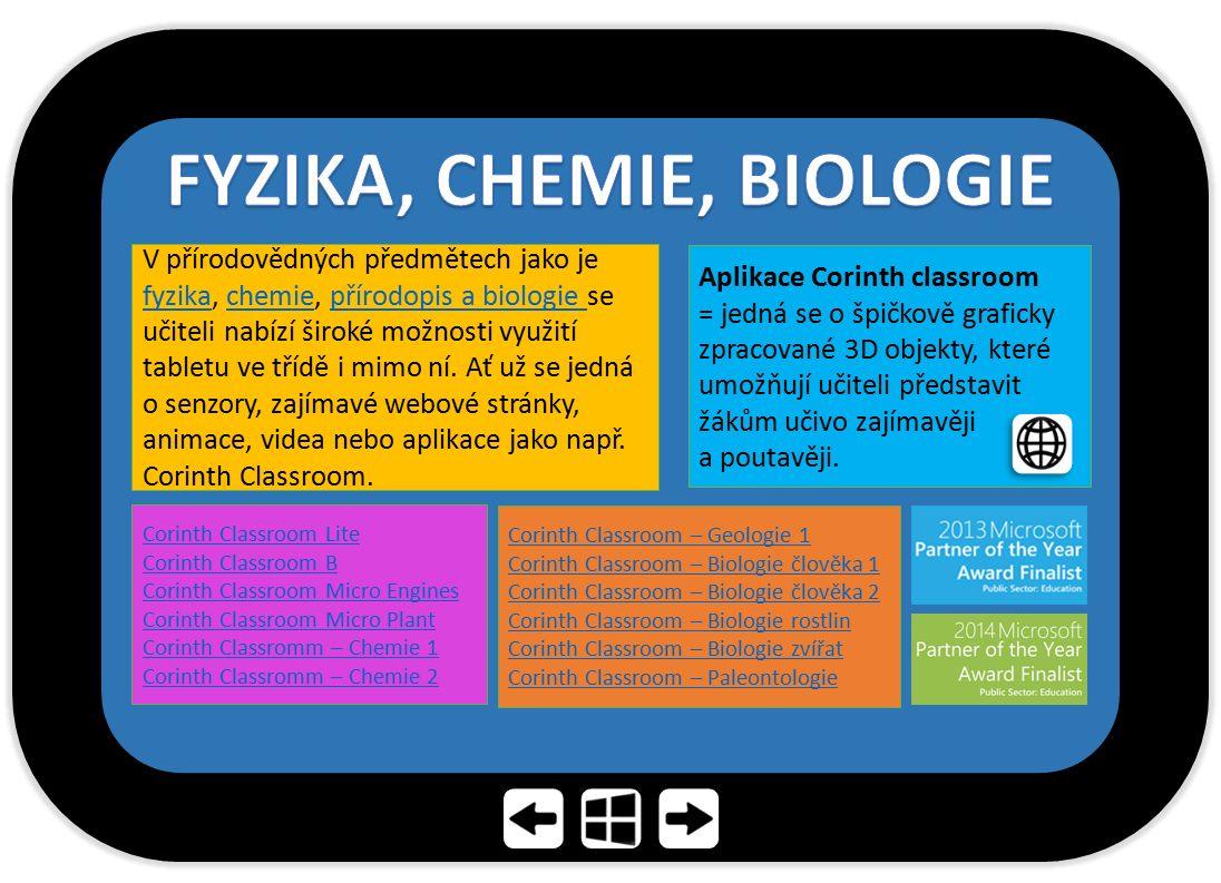 V přírodovědných předmětech jako je fyzika, chemie, přírodopis a biologie se učiteli nabízí široké možnosti využití tabletu ve třídě i mimo ní. Ať už